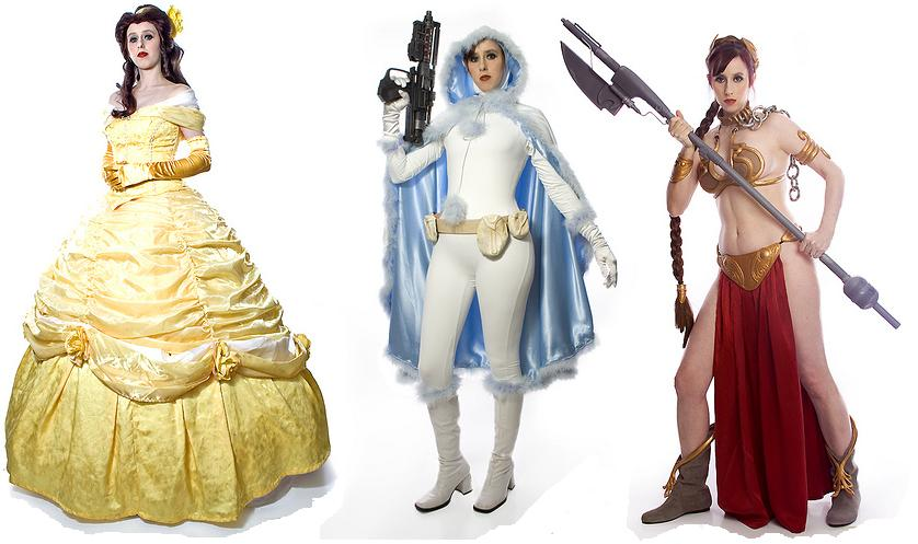 Belle (Beauty and the Beast) Snowbunny Padme and Slave Leia (Star Wars