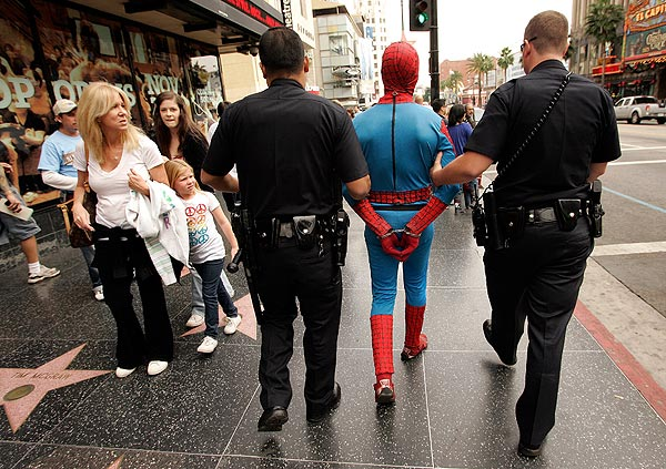 The LAPD have accomplished something that J. Jonah Jameson and his Anti-Spider Squad couldn't- handcuff Spider-Man! The LA Times reports that on November 12, 2009 at Hollywood and Highland in...