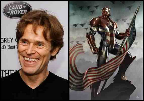 Willem Dafoe is Norman Osborn, who IS the Iron Patriot in Marvel's Dark Reign event!