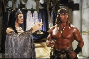 Sarah Douglas' Queen Taramis and The Governator's Conan
