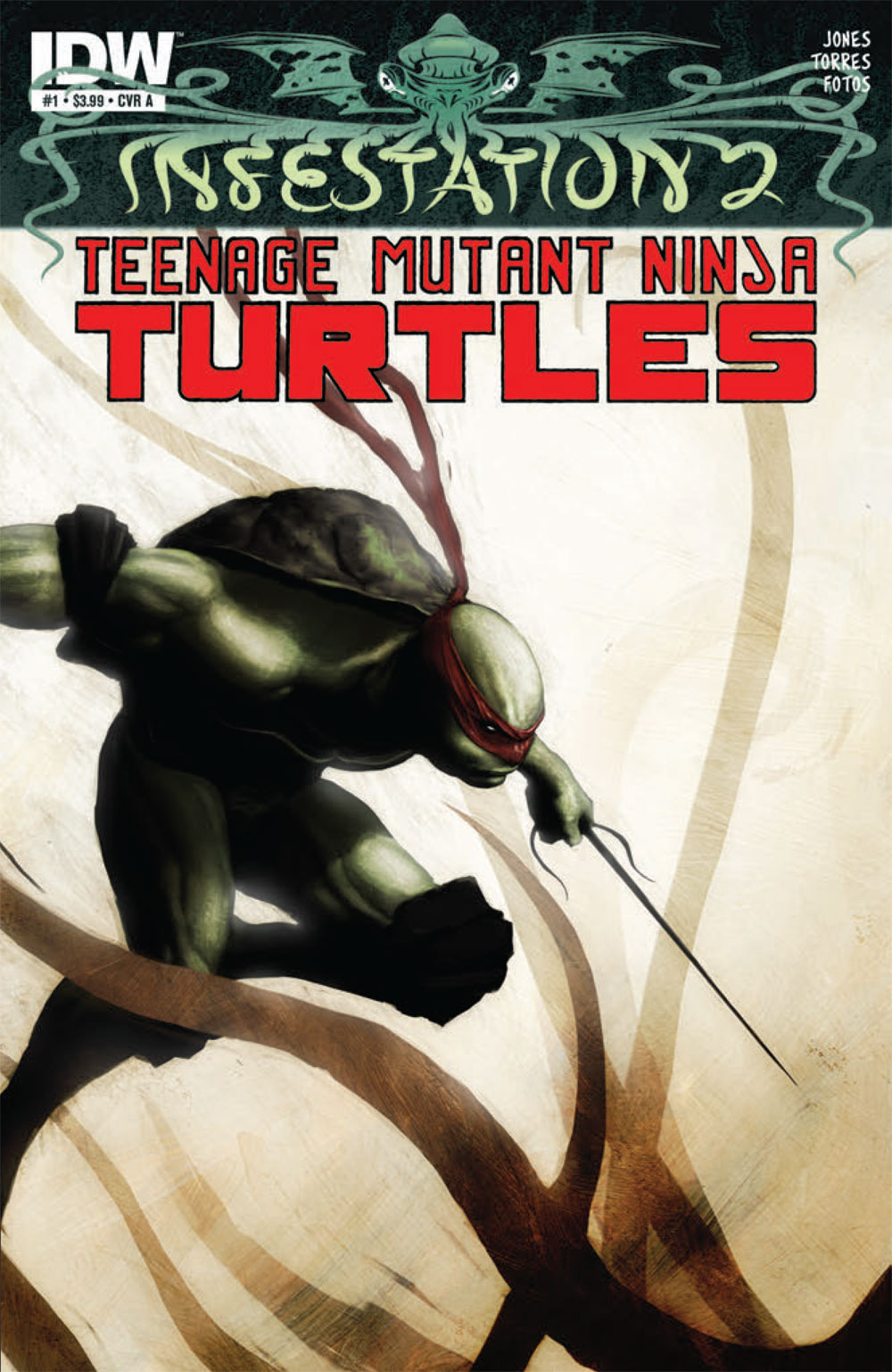 "Infestation 2: Teenage Mutant Ninja Turtles #1 Writer: Tristan Jones Artist: Mark Torres Colorist: Jay Fotos Letterer: Shawn Lee Publisher: IDW Release Date: March 7, 2012 Lovecraftian horror has ""infested""..."