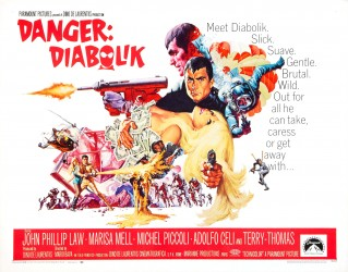 Title: Danger: Diabolik Director: Mario Bava Writers: Arduino Maiuri, Brian Degas, Tudor Gates, Mario Bava (created by Angela and Luciana Giussani) Distributed By: Paramount Pictures Starring: John Philip Law, Marissa...