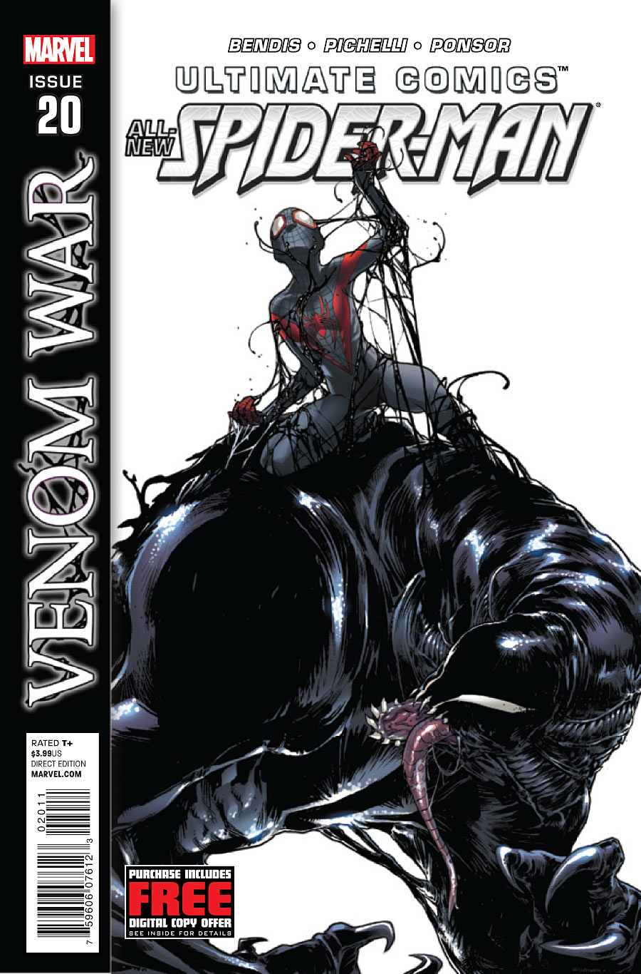 Ultimate Comics: Spider-Man #20 Publisher: Marvel Writer: Brian Michael Bendis Artist: Sara Pichelli Cover: Sara Pichelli & Christina Strain A longtime rivalry is reignited, but with two new players. A new symbiote...