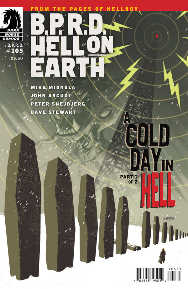 B.P.R.D. Hell on Earth #105 Publisher: Dark Horse Writers: Mike Mignola & John Arcudi Artist: Peter Snejbjerg (cover by Dave Johnson) Colors: Dave Stewart ABE SAPIEN IS BACK! That's right...
