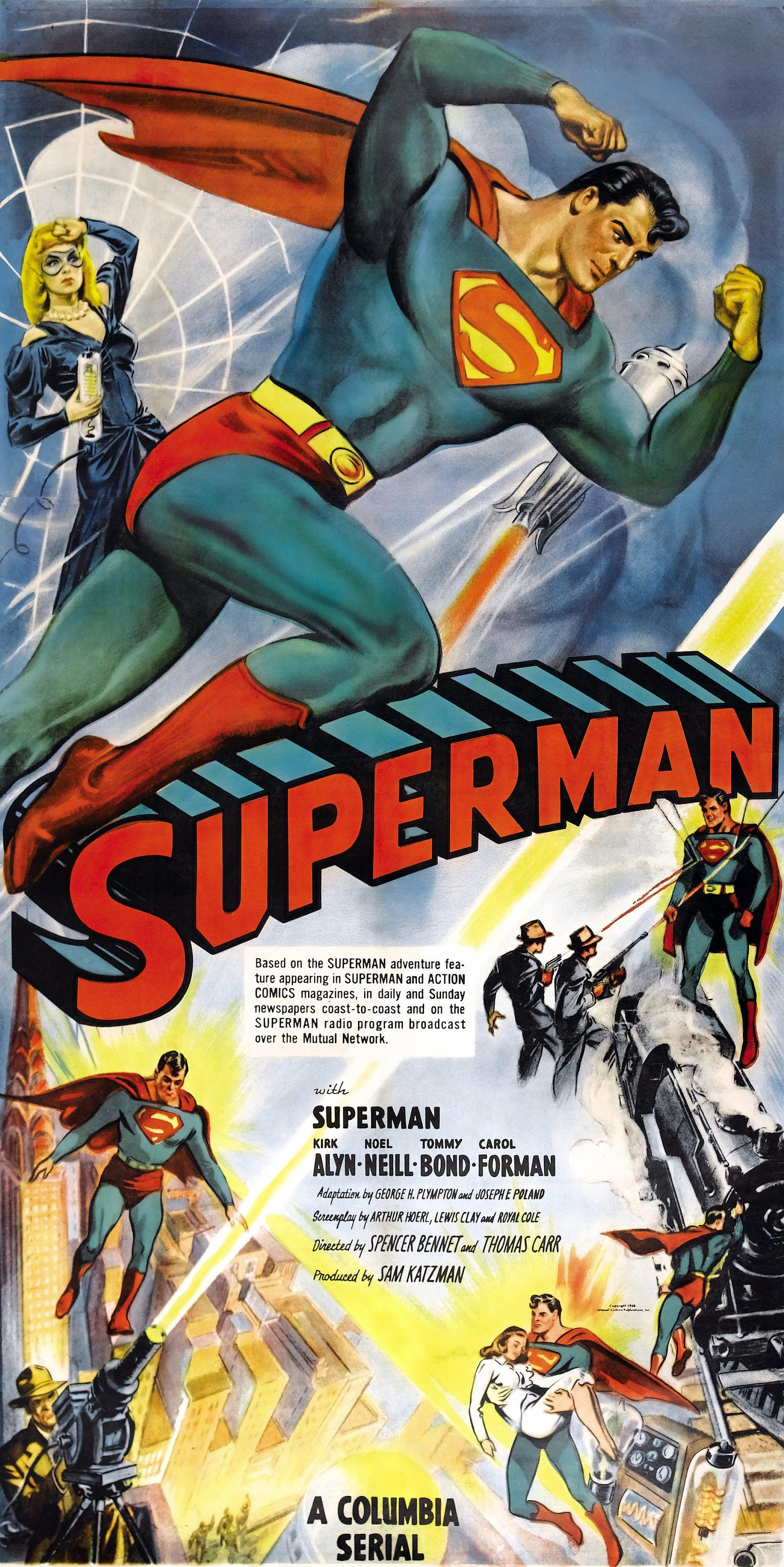 Superman soars onto the silver screen to stop the sinister Spider Lady!!! (I like alliteration)