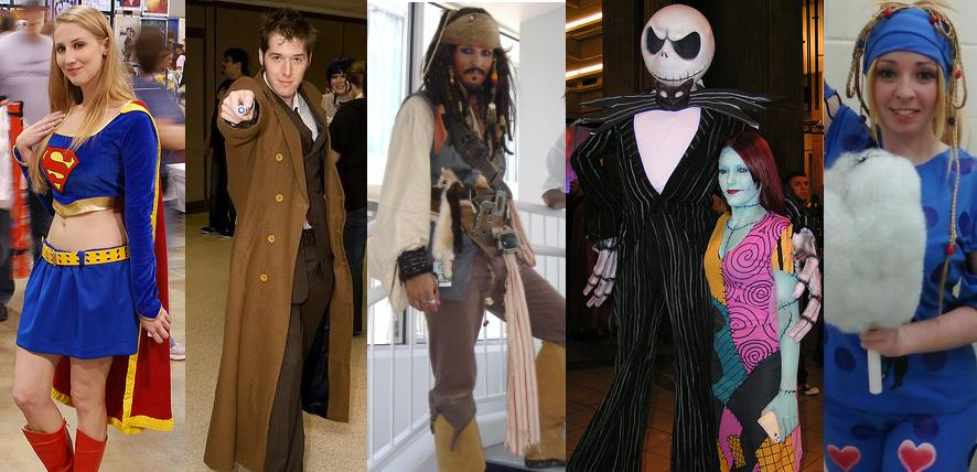 Cosplayers as Supergirl, Dr. Who, Capt. Jack Sparrow, Jack and Sally, and Rikku