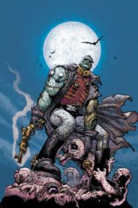 Frankenstein fighting tentacle monster