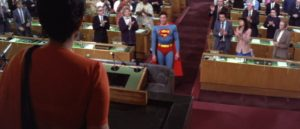 Superman addresses the UN delegates