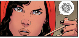 Miss America Chavez medium rare steak